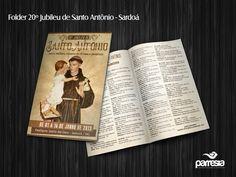 Folder produzido para o 20º Jubileu de Santo Antônio - Paróquia de Santo Antônio (Sardoá/MG) - Diocese de Governador Valadares