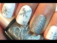Silver Snowflake Nail Art  #TUTORIAL #glitterpolish #xmasnails #holidaymani - bellashoot.com