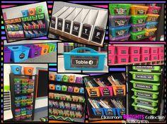 Neon Brights on Black Editable Classroom Labels