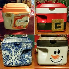 Formula containers turned into holiday take home containers for cookies and other treats.