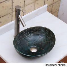 Elite 1559 2659 Oval Dark Green Glaze Porcelain Ceramic Bathroom Vessel Sink With Faucet Combo (