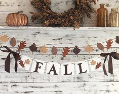 Check out our FALL BANNER selection for the very best in unique or custom, handmade pieces from our shops. Autumn Art, Autumn Leaves, Fall Leaf Garland, Fall Banner, Cardboard Crafts, Craft Night, Thanksgiving Decorations, Crafts To Do, Acorn