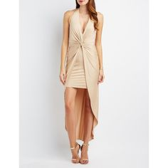Charlotte Russe Halter Knotted Maxi Dress (£25) ❤ liked on Polyvore featuring dresses, nude, high low dresses, hi low dress, mini dress, plunge maxi dress and white hi low dress