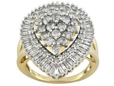Pamela Mccoy Diamonds(Tm) 2.00ctw Round And Baguette 14k Yellow Gold Ring