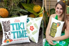 Tiki Pillows by Epoc Ink #tiki #tikipillow #tikiparty #summerpillow #pillow