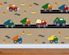 Truck Decal -Construction Wall Decal - Dump Truck Decal -Fabric Wall Decal -Boy Wall Decal -Nursery Wall Decal- Wall Decals- Boys Room Decor