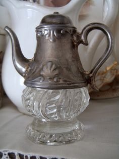 silver & crystal pot...