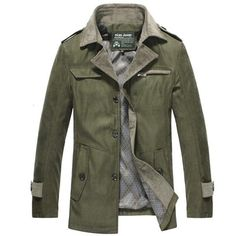 Casual Business Corduroy Slim Fit Solid Color Stand Color Coat For Men - Gchoic.com