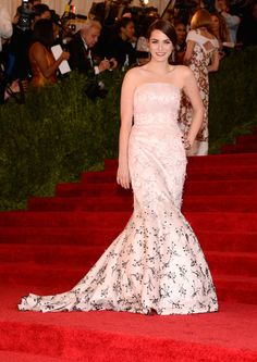Met Gala:  : Bee Shaffer posed in a soft pink strapless Christian Dior gown with contrasting black and pink beading.