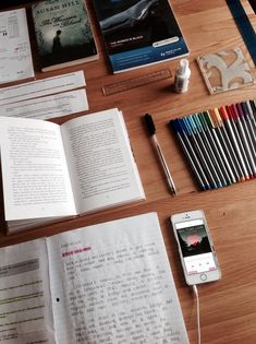 I spend a lot of my time studying for a lot of tests and reviewing the days lessons, and my workspaces are always accompanied with a lot of natural light, and contains basically as what is seen in the photo; my pens, pencils, highlighters out in order by colour, books all put out neatly in order, a book on the side for when I need a short break, and a binder full of paper that I will need later on, and my laptop inferno of me.