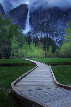 Follow the wooden plank road to waterfalls in Yosemite National Park.