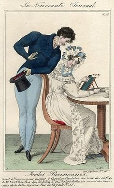 Regency Fashion Plate. Modes Parisiennes 1825. The arrival of the trouser. Initially formed to display a shapely leg, trousers would grow looser and thus conceal what had been on view since Antiquity.