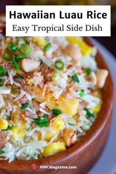 Easy rice recipes! Bbq Chicken Sides, Side Dishes For Chicken, Rice Side Dishes, Food Dishes, Easy Rice Recipes, Side Dish Recipes, Asian Recipes, Hawaiian Recipes, Hawaiian Luau Food