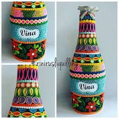 Recycled bottle with paper quilling #rinirusliquilling #recycle #handmade
