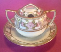 SOLD! Nippon-RC-Noritake-Mustard-Pot-With-Attached-Saucer-HP-And-Gold-Moriage-Beading
