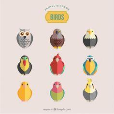 Oiseaux vecteur ensemble Vecteur gratuit