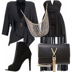 Vestitino scollato con bustino nero, corto sopra il ginocchio, abbellito da un velo che scende lungo tutte le gambe. Giacca nera, lievemente arricciata, scarpa spuntata, borsa nera con tracolla dorata e V sul davanti. Collana dorata per chiudere l'outfit. Per serate eleganti o in disco!