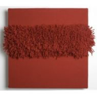 A contemporary decorative hand woven wall panel in wool, inspired by anthuriums.