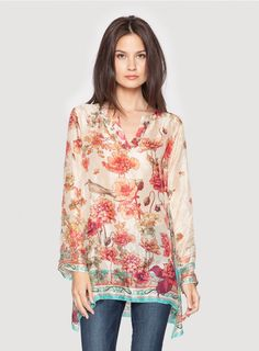 Johnny Was Collection Signature Silk Diamond Pearl Print Tunic #johnnywas #floralfrenzy