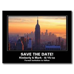 Shop NYC Skyline Sunset ESB Save the Date Announcement Postcard created by NYCisMyMuse. Thank You Postcards, Save The Date Postcards, World Trade Center Buildings, Floral Wedding Save The Dates, Wedding Postcard, Nyc Skyline, Sunset Wedding, Postcard Design, Beautiful Sunset