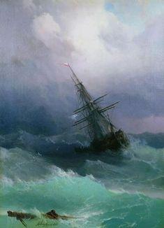 """Ivan Konstantinovič Ajvazovskij, """"Nave nel mare in tempesta"""" (1862)"""