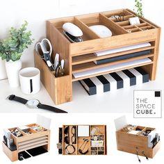 TheSpaceCube shared a new photo on Etsy Stationary Organization, Desk Organization Diy, Desk Storage, Diy Desk, Storage Caddy, Cube Storage, Storage Ideas, Office Organisation, Office Supply Organization