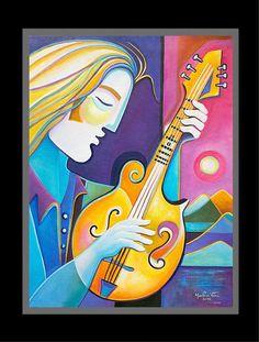 Cubist Painting Original Oil on canvas Modern Art Mandolinist Marlina Vera Fine Art Gallery Picasso Style Abstract Artwork Sale Musicien