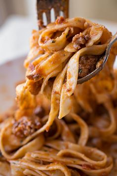 Fettucini in Spicy Sausage & Roasted Garlic Bolognese