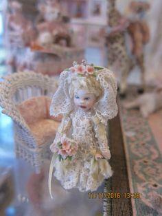 "Judith Orr, IGMA artisan - 2"" tall porcelain bride doll"