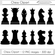 Chess Clipart Vector Chess Clip Art Digital Chess Pieces by skaior