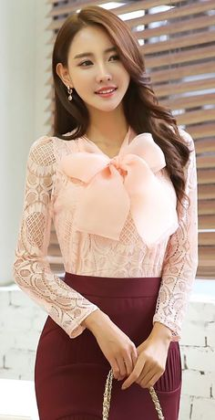 StyleOnme_ Oversized Ribbon Necktie Lace Blouse #lightpink #lace #sheer…