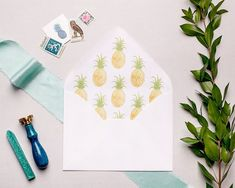 You're the pineapple of my eye 🍍 This is definitely one of our favorite envelope liners we've designed 😍 (Photo: Wedding Invitation Envelopes, Handmade Wedding Invitations, Wedding Invitation Suite, Envelope Liners, Watercolor Wedding, Something Blue, Wedding Tips, Perfect Wedding, Pineapple
