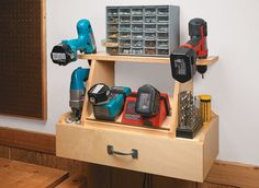 This compact station keeps cordless tools, chargers, and accessories within arm's reach.