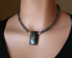Labradorite Rectangle Pendant Necklace 925 Sterling by ByGerene