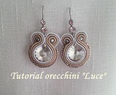 """TUTORIAL SOUTACHE orecchini """"Luce"""" - incastonatura cristallo con fili di..."""