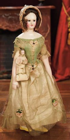 Early Papier-Mache Lady with Baby Attributed to Andreas Voit, circa Victorian Dolls, Antique Dolls, Vintage Dolls, Muslin Dress, China Dolls, Creepy Dolls, Old Dolls, Wooden Dolls, Mannequins