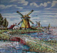 Windmills, Handpainted Ceramic Tile, Delft