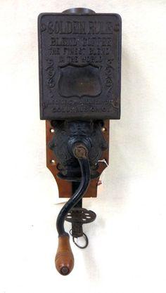 "Vintage ""Golden Rule"" wall mount coffee grinder, metal : Lot 27"