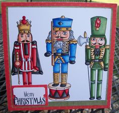 """Clear Dollar Stamps digital stamps """"nutcrackers"""" colored with Copic markers."""