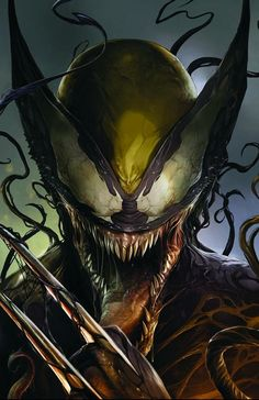 Some sick Wolverine/Venom art. Venom Art, Venom Comics, Marvel Venom, Marvel Villains, Marvel Comics Art, Marvel Comic Books, Marvel Vs, Comic Book Characters, Comics