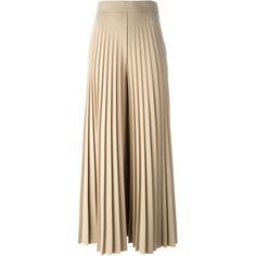 Givenchy Pleated Wide Leg Trousers ($2,755) ❤ liked on Polyvore featuring pants, brown pants, wool blend pants, highwaist pants, high waisted pleated pants and pleated pants