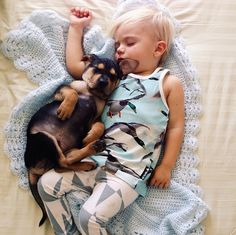 Now, as her blog attests, Beau waits for Theo every day for their nap time ritual. | This Puppy And Baby Are The Most Adorable Nap Time Pals #baby&puppy