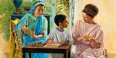 Loide e Eunice ensinando Timóteo