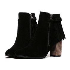SheIn(sheinside) Black Chunky Heel Tassel Zipper Boots ($43) ❤ liked on Polyvore featuring shoes, boots, black, botas, short boots, black boots, black winter boots, black pointed toe boots and short black boots