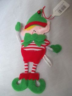 fce9af12ada24 Elf Decoration Plush Felt Hanging or Sit on Shelf Red and Green 9