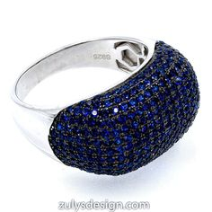 ZDR2046N STERLING SILVER 925 RHODIUM PLATED SAPPHIRE COLOR CZ RING