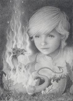 """The Hatchling"" reproduction of a  graphite pencil drawing by Kathy Hare...hopefully this talented artist is illustrating children's books"