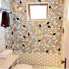 Tiny bathroom. Beautiful tile.