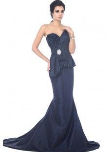 Blue Natural Taffeta Mermaid Evening Prom Dress