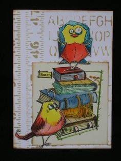 Theresa Petermann with a card I made for my grand daughter as she starts her junior year in high school. Crazy Bird, Crazy Dog, Crazy Cats, Crazy Animals, Dog Cards, Bird Cards, Men's Cards, Scrapbook Journal, Scrapbook Cards